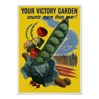 Vintage WW2 Grow Your own Veg Poster Print