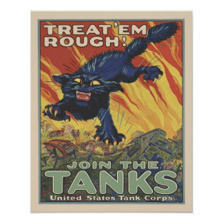 Vintage WW2  US Tank Corps Military Recruitment Poster
