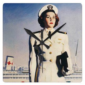 Vintage WW II Navy Nurse Clock