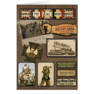 """Vintage WWI """"Allied Forces"""" Greeting Card"""
