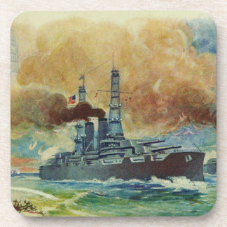 Vintage WWI Battleship Coaster Set