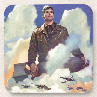 Vintage WWII Army Air Force Poster Design Drink Coasters