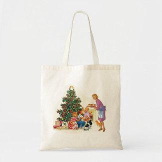 Vintage Xmas Mom & Kids Canvas Bags