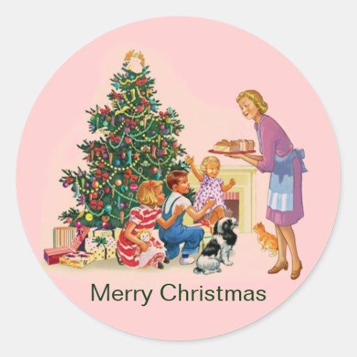 Vintage Xmas Mom & Kids Sticker