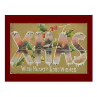 Vintage Xmas Wishes Postcard