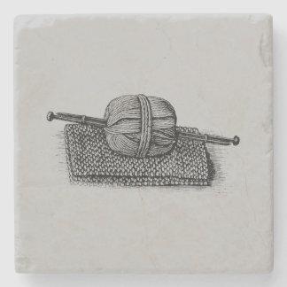 Vintage Yarn and Knitting Stone Beverage Coaster