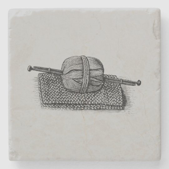 Vintage Yarn and Knitting Stone Coaster