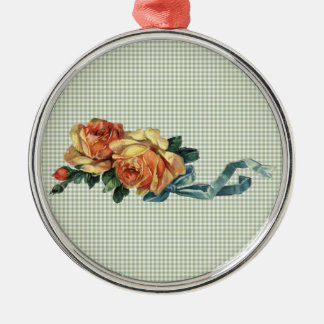 Vintage Yello and Pink Roses w/ Sage Green Gingham Silver-Colored Round Ornament