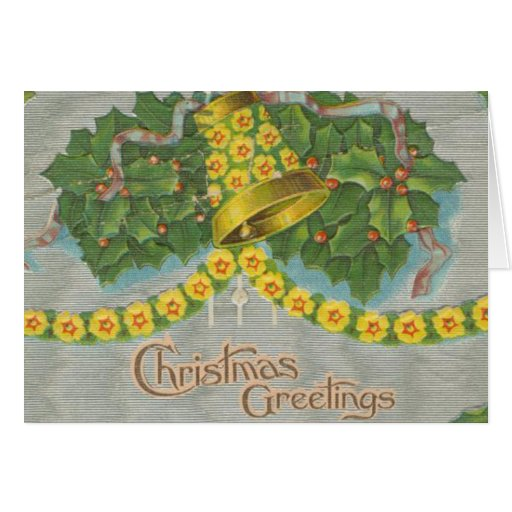 Vintage Yellow and Green Christmas Bells Cards