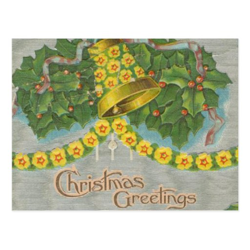 Vintage Yellow and Green Christmas Bells Postcards