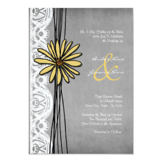 Vintage Yellow and Grey Daisy Wedding Invitation