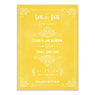 """Vintage Yellow Art Deco Save the Date 5"""" X 7"""" Invitation Card"""