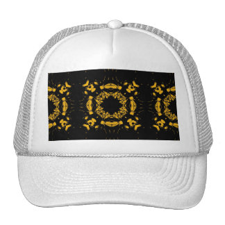 Vintage Yellow, Black Floral Damasks Retro Pattern Trucker Hat