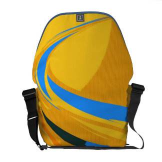 Vintage Yellow Blue Painting Abstract Art Deco Courier Bags
