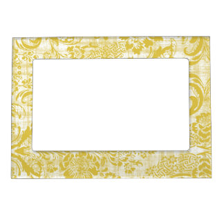Vintage Yellow Damask Grungy Mustard Yellow Magnetic Picture Frame