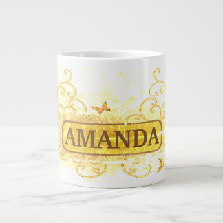 Vintage Yellow & Floral Customized Giant Coffee Mug
