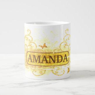 Vintage Yellow & Floral Customized Large Coffee Mug