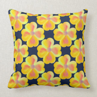 Vintage Yellow Floral Pattern Navy Blue Pillow