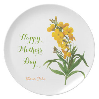 vintage yellow flowers happy mother's day dinner plate