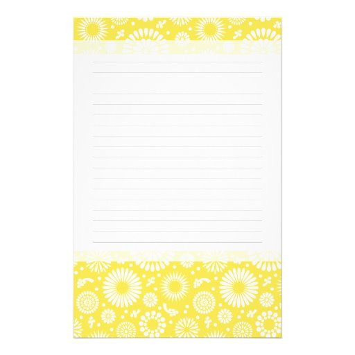 Vintage yellow flowers stationery paper