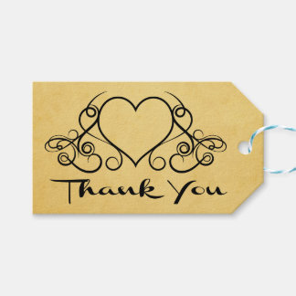 Vintage Yellow Gold  Black Thank You Heart Wedding Gift Tags