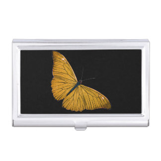 Vintage Yellow Gold Butterfly 1800s Illustration Business Card Holder