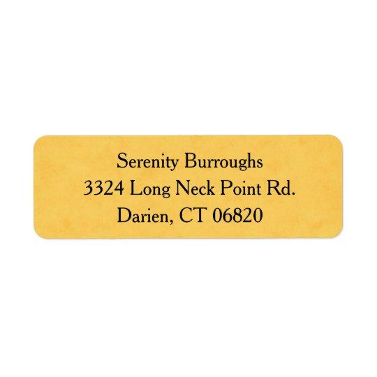 Vintage Yellow Gold Grunge Black Address Label