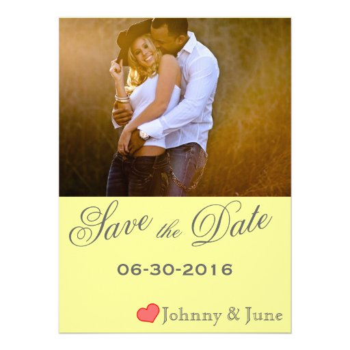 Vintage Yellow & Gray Save the Date Custom Invitation