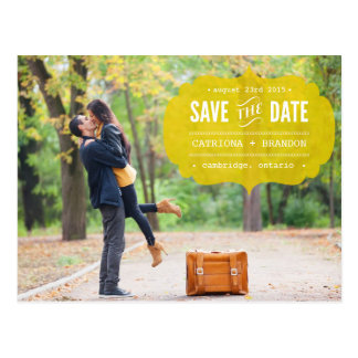 Vintage Yellow Label Photo Save the Date Postcard
