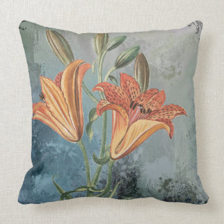 Vintage Yellow Lily on Blue Distressed Background Throw Pillow