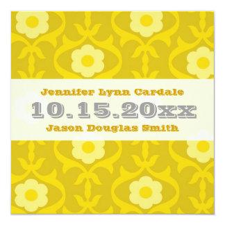 Vintage Yellow Mustard Floral Wedding Invitations