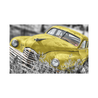 Vintage yellow old car canvas print