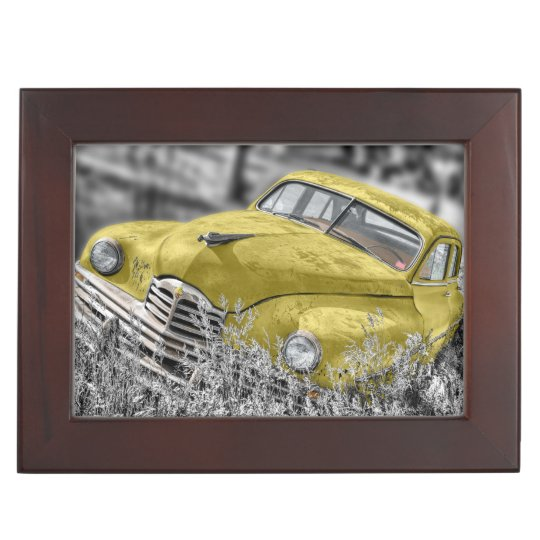 Vintage yellow old car keepsake box