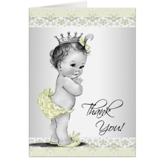 Vintage Yellow Princess Baby Shower Thank You Card