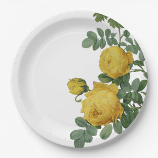 Vintage yellow rose painting paper plate