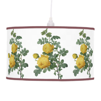 Vintage yellow rose painting pendant lamps