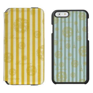 Vintage Yellow Stripes Gold Paris Damask Pattern Incipio Watson™ iPhone 6 Wallet Case