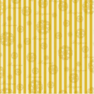 Vintage Yellow Stripes Gold Paris Damask Pattern Photo Cut Out
