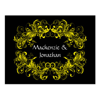 Vintage Yellow Swirls on Black Save The Date Postcard