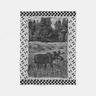Vintage Yellowstone Moose Fleece Blanket
