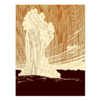 Vintage Yellowstone National Park Geyser WPA Postcard