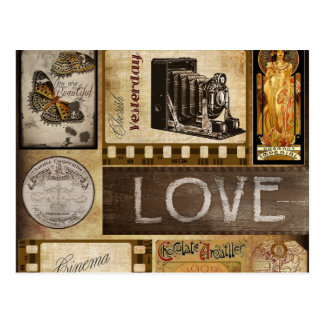 Vintage Yesterday Love Woman Cinema Chocolate Postcard