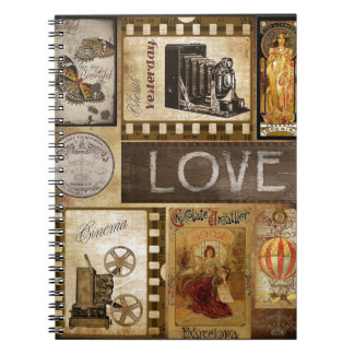 Vintage Yesterday Love Woman Cinema Chocolate Spiral Note Book