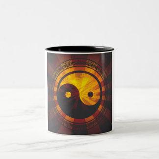 Vintage Yin Yang Symbol Print Two-Tone Coffee Mug