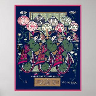 Vintage Yokohama Music Sheet Poster