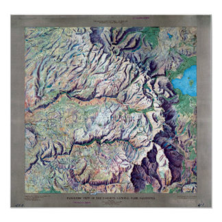 Vintage Yosemite National Park Relief Map Poster