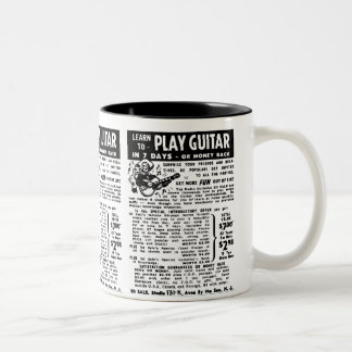 Vintage You Can Play Guitar Ad Kitsch Classic Two-Tone Coffee Mug