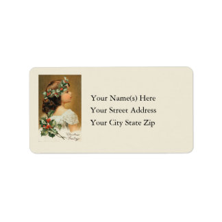 Vintage Young Girl With Holly Address Label