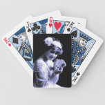 Vintage young woman holding 4 aces, blue photo poker cards