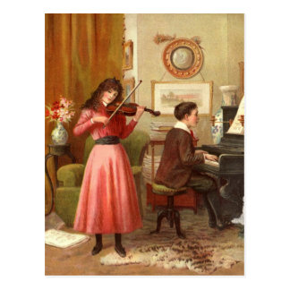 Vintage Youth Playing Musical Duet Postcard